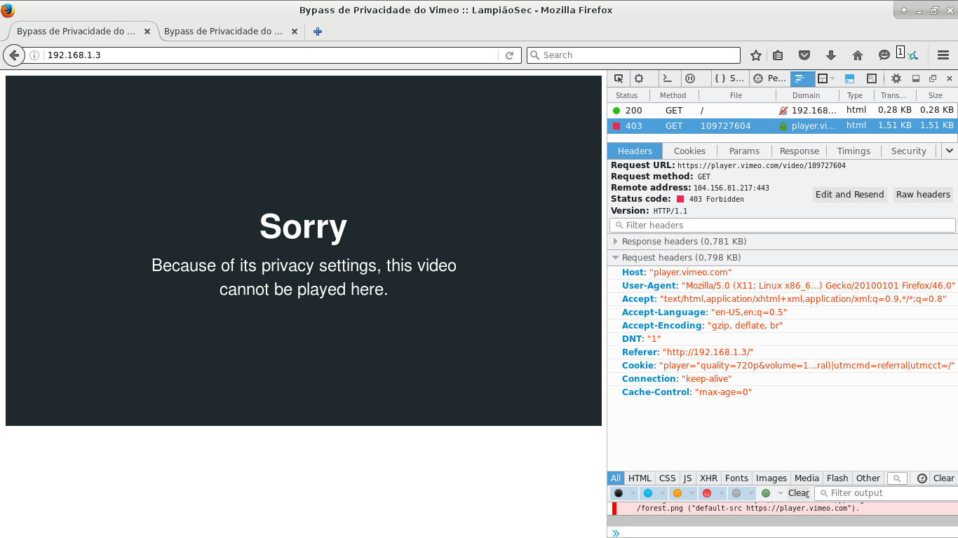 Vimeo Privacy by Website Domain Bypass :: LampiãoSec